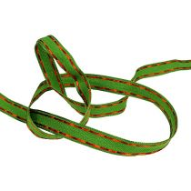 Gift ribbon for decoration green with wire edge 15mm 15m