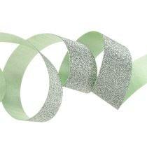 Gift ribbon for decoration light green with mica 10mm 150m