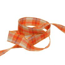 Gift ribbon for decoration plaid orange 25mm 20m