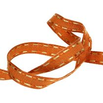 Gift ribbon for decoration orange with wire edge 15mm 15m