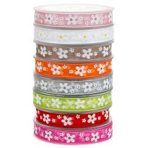 Gift ribbon for decoration organza ribbon with floral motif 15mm 20m