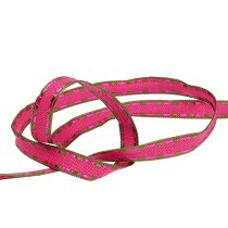 Gift ribbon for decoration Pink with wire edge 15mm 15m
