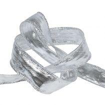 Deco ribbon silver with wire edge 25m