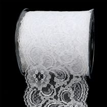 Gift ribbon for decoration lace 100mm 10m white
