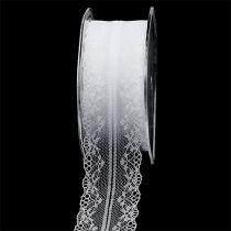 Decorative ribbon lace white 40mm 20m