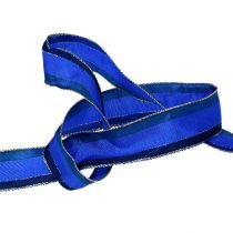 Deco tape with wire edge blue 25mm 20m