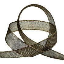 Deco tape with lurex stripes black 25mm 20m