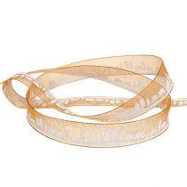 Deco ribbon with winter motif orange-white 15mm 20m