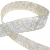 Deco ribbon with butterflies brown 25mm fabric ribbon gift ribbon 20m