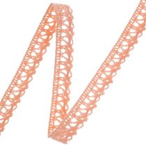 Gift ribbon for decoration crochet lace salmon 12mm 20m