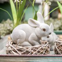 Decorative figure bunny gray, spring decoration, easter bunny sitting flocked 3pcs