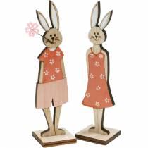 Decorative figure Easter bunny orange, white wooden bunny Easter decoration 6pcs
