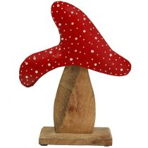 Deco toadstool red, nature 26cm