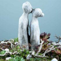 Decorative figure kissing couple stone cast gray 10 × 8cm H28cm
