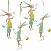 Decorative figures pair of bunnies, metal decoration, Easter bunnies to hang up, spring decoration 4pcs