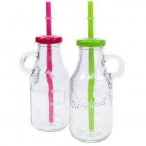 Decorative bottles with lid and straw H14,5cm