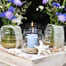 Decorative glass, flower vase, glass lantern, table decoration Ø10cm H10cm 6pcs