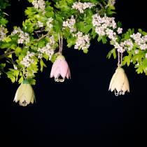 Decoration hanger blossom metal pastel 9cm 4pcs