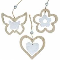 Decoration hanger heart flower butterfly nature, silver wood decoration 6pcs