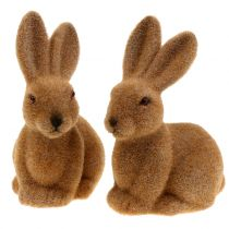 Bunny for decoration flocked brown 15cm 4pcs