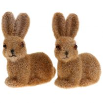 Bunny for decoration flocked brown 8,5cm 6pcs