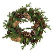 Deco wreath fir with cones green Ø25cm