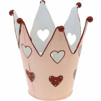 Decorative crown, metal lantern, planter for Valentine's Day, metal decoration with a heart