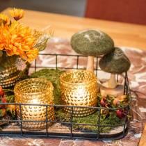 Decorative mushroom wood / felt green 8cm - 15cm 4pcs
