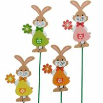Decorative plug Easter bunny with flower Easter decoration wooden bunnies on a stick 24pcs