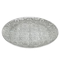 Deco plate silver with ornament Ø32cm