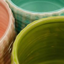 Ceramic planter, mini planter, ceramic decoration, decorative pot, basket pattern mint / green / pink Ø7.5cm 6pcs