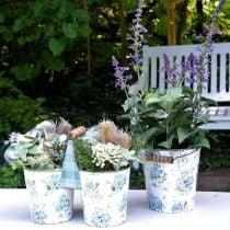 Double flower pot summer decoration planter metal with handle vintage look Ø11.5cm