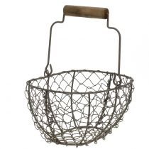 Wire basket with wooden handle Brown 20cm