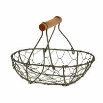 Wire basket with wooden handle Brown 17cm x 11cm H5cm