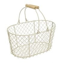 Wire basket oval with handle 27x18cm H13.5cm cream