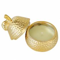 "Scented candle ""Magnolia & Pear Blossom"" in a pear jewelry box gold Ø7.4cm H9cm"
