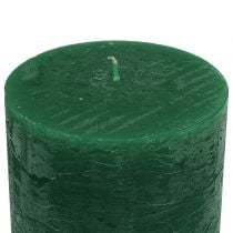 Solid colored candles dark green 50x100mm 4pcs