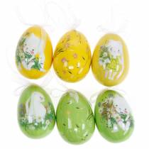 Decorative Easter bouquet egg to hang yellow, green assorted H7cm 6pcs