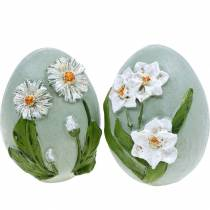 Easter eggs with flower motif daisies and daffodils blue, green plaster assorted 2pcs