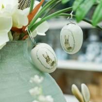 Egg for hanging Ceramic White Rabbit Ø5,5cm H7,6cm 12pcs