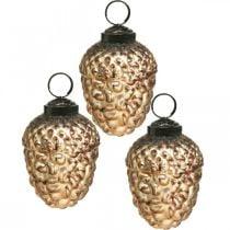 Acorn glass golden vintage deco cones Christmas tree decorations 5.5 × 8cm 12pcs
