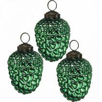 Acorn glass green autumn decoration cones Christmas tree decorations 5.5 × 8cm 12pcs