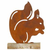 Squirrel Patina on a wooden base 19cm x 25cm