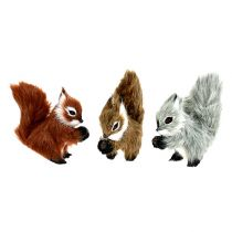 Squirrel on the clip 8cm assorted colored 3pcs