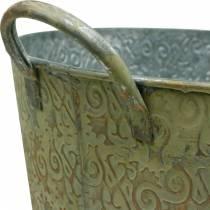 Bucket green with handles Ø30cm vintage look planter metal rust