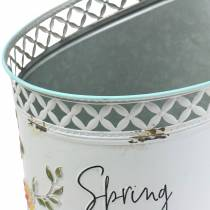 Decorative bucket with floral ornament and saying metal Ø27cm H50.5cm