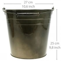 Metal vessel, plant bucket, metal decoration Ø27cm H25cm
