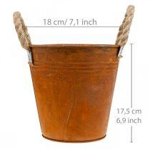 Plant pot with patina, metal vessel, autumn decoration Ø18cm H17.5cm