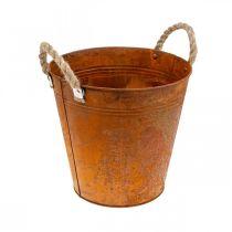 Planter with handles, planter bowl, metal vessel with rust decoration Ø25cm H24cm