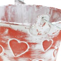 Metal vessel for planting bucket with heart pattern Mother's Day plant bucket Ø13.5cm
